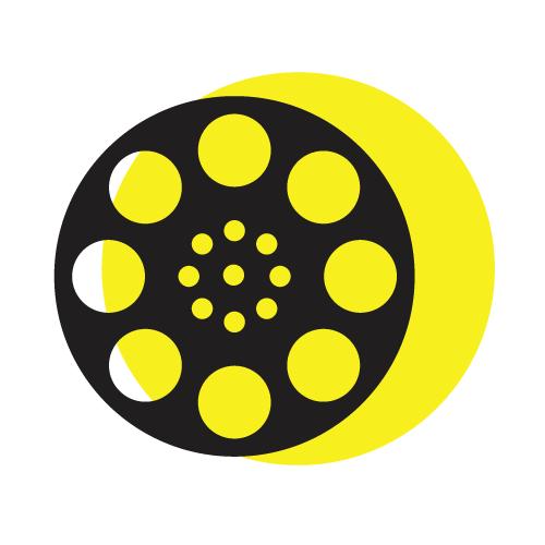 Ролка от кинофилм на жълт фон