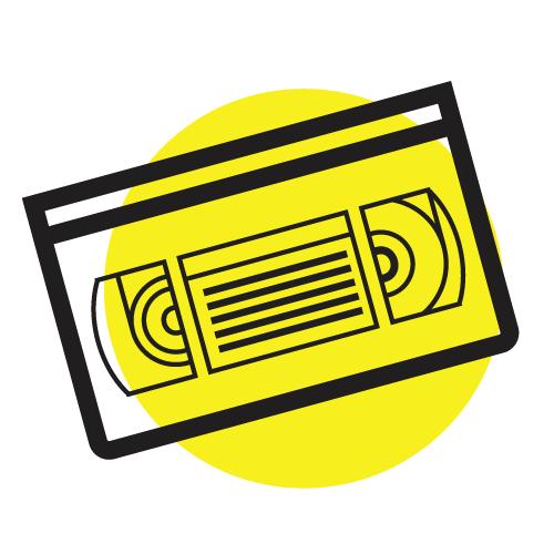 Рисунка на VHS видеокасета на жълт фон - цифровизиране на видеокасети